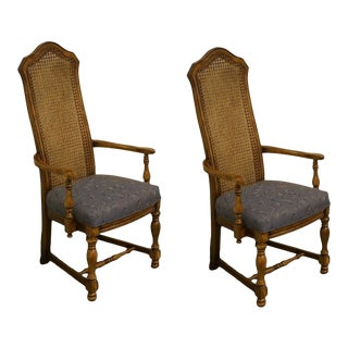 Late 20th Century High End Country French Regency Fruitwood Cane Back Dining Arm Chairs - a Pair For Sale