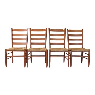 Italian Ladder Back Dining Chairs S/4 For Sale