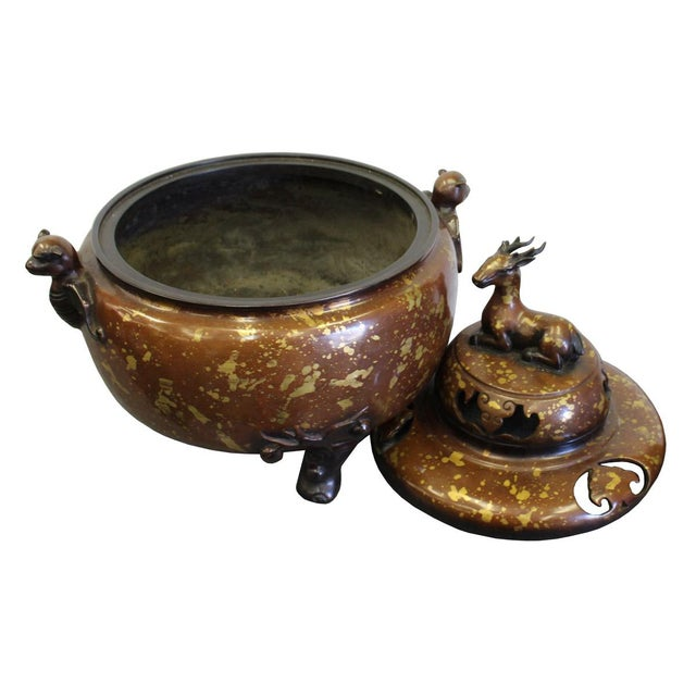 Chinese Fine Bronze Metal Deer Theme Incense Burner For Sale - Image 5 of 7