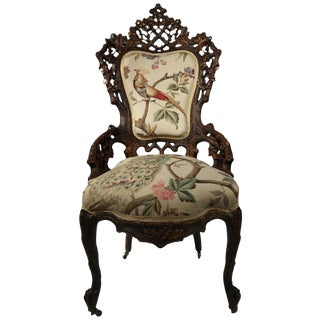1880s Black Forest Side Chair For Sale