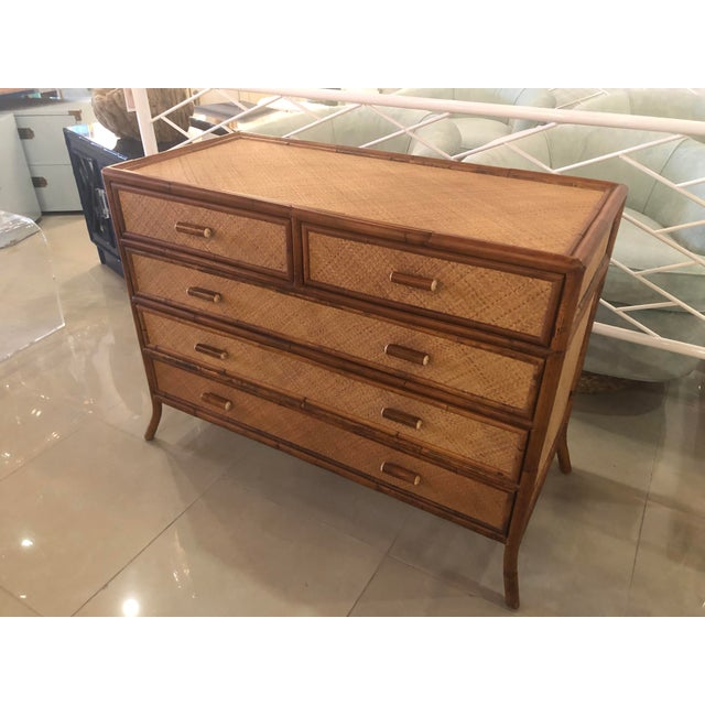 Vintage E. Murio Chinoiserie Tropical Rattan Burnt Bamboo Grasscloth Chest of Drawers Dresser Credenza For Sale - Image 13 of 13