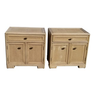 Ficks Reed Woven Seagrass Nightstands (Pair), C.1960s For Sale