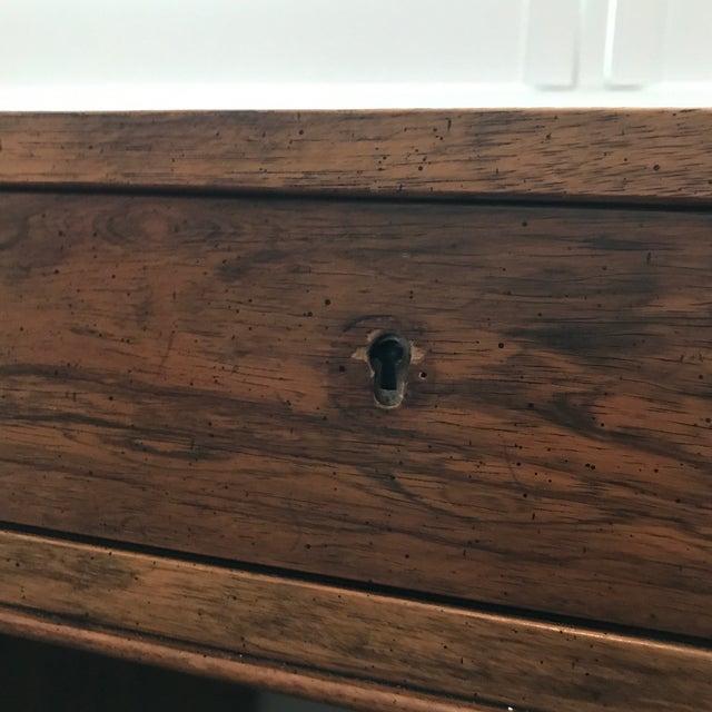 Brass Vintage Baker Furniture Walnut Campaign Style Partner Desk For Sale - Image 8 of 11