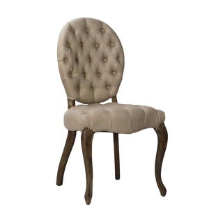 Tufted Oval Back Dining Chair For Sale