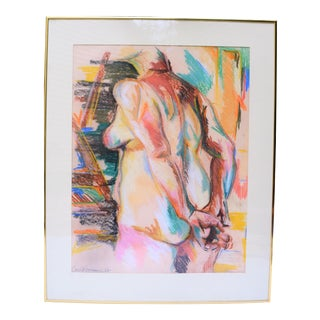 Vintage Framed Nude Pastel on Paper, Framed and Matted For Sale