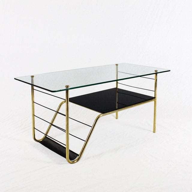 Pierre Guariche 1960s Coffee Table by Pierre Guariche, Brass, Bronze, Opaline, Glass - France For Sale - Image 4 of 9
