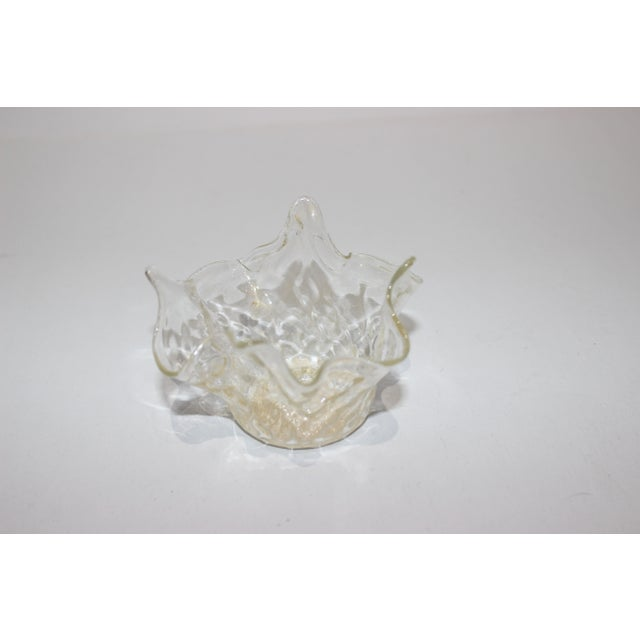 Murano Petit Murano Glass Free Form Bowl Gold Flecked For Sale - Image 4 of 11