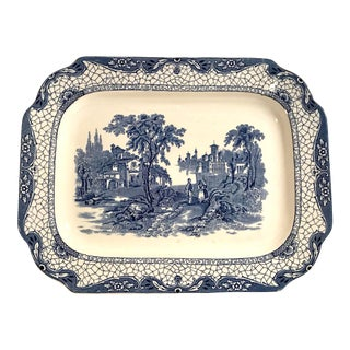 Antique English Flo Blue Platter For Sale