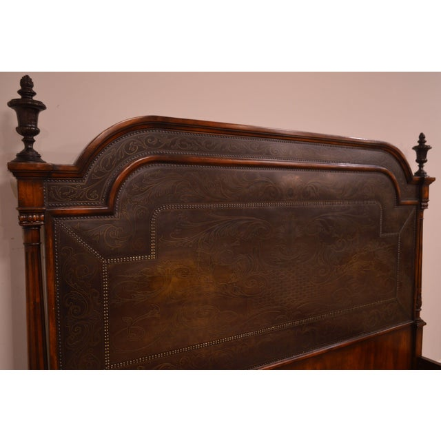 Theodore Alexander Armoury Collection Engraved Brass Paneled King Bed For Sale - Image 10 of 12