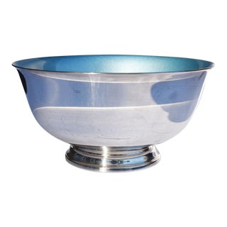 Reed and Barton Silver and Cerulean Blue Paul Revere Liberty Serving Bowl, 1945 For Sale