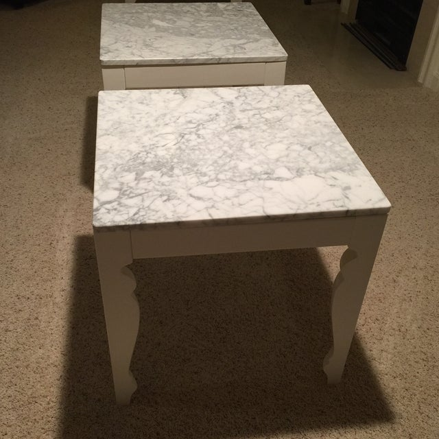 Marble & Wood End Tables - A Pair - Image 3 of 5