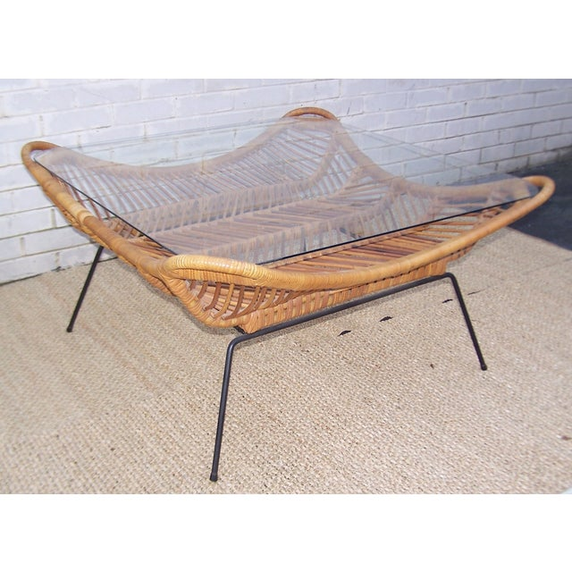 1960s Rattan, Iron & Glass Coffee Table - Image 10 of 10