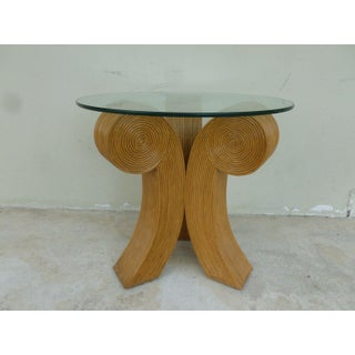 1970's Mid-Century Modern Bent Rattan Joined Comma Trefoil Occasional Table Preview