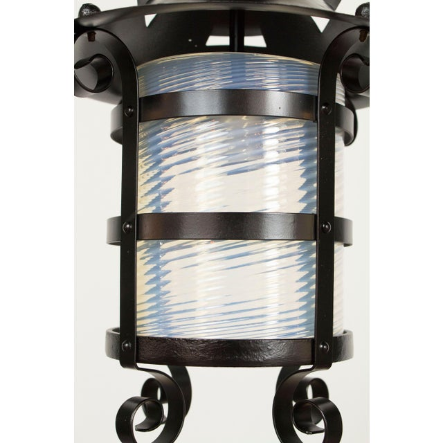 Iron and Blue Swirled Glass Gas Lantern For Sale - Image 4 of 5