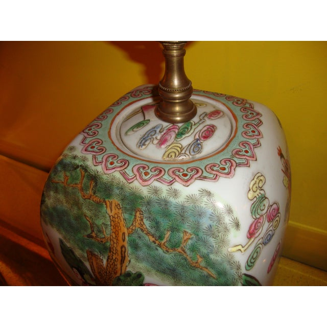 Chinese Export Porcelain Painted Ginger Jar Table Lamps- A Pair - Image 4 of 10