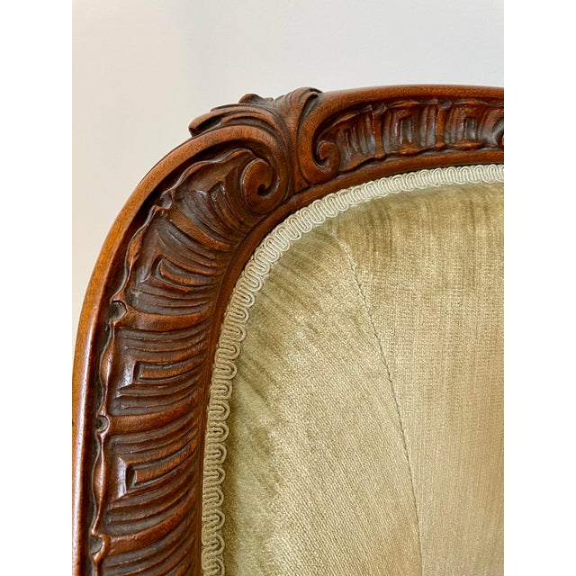 Wood Victorian Settee/Loveseat in Green Velvet For Sale - Image 7 of 9
