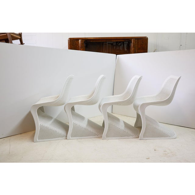 Modern Indoor/Outdoor Cantilever Chairs by Compamia, Set of 4 For Sale - Image 4 of 13