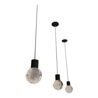Mina Black With Grey Cord Dimmable Led Pendant From Tech Lighting - Set of Three For Sale
