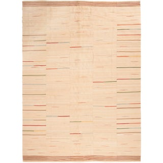 Vintage Beige Striped Wool Kilim Rug - 8′7″ × 11′8″ For Sale