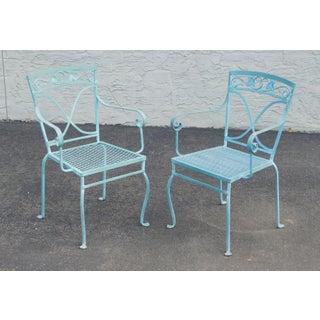 Salterini Vintage Pair Blue Wrought Iron Garden Armchairs Preview