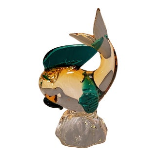 Mid 20th Century Vintage Murano Teal & Amber Glass Fish Figurine For Sale