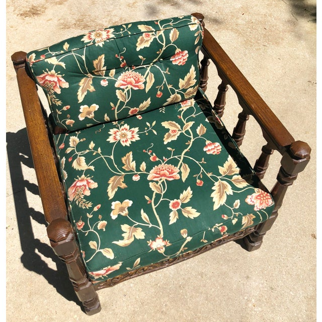Mid-Century Floral Upholstered Wooden Cube Chair For Sale - Image 9 of 12