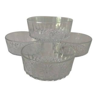 Vintage Arcoroc France Clear Diamond Cut Glass Berry Bowls S/4 For Sale