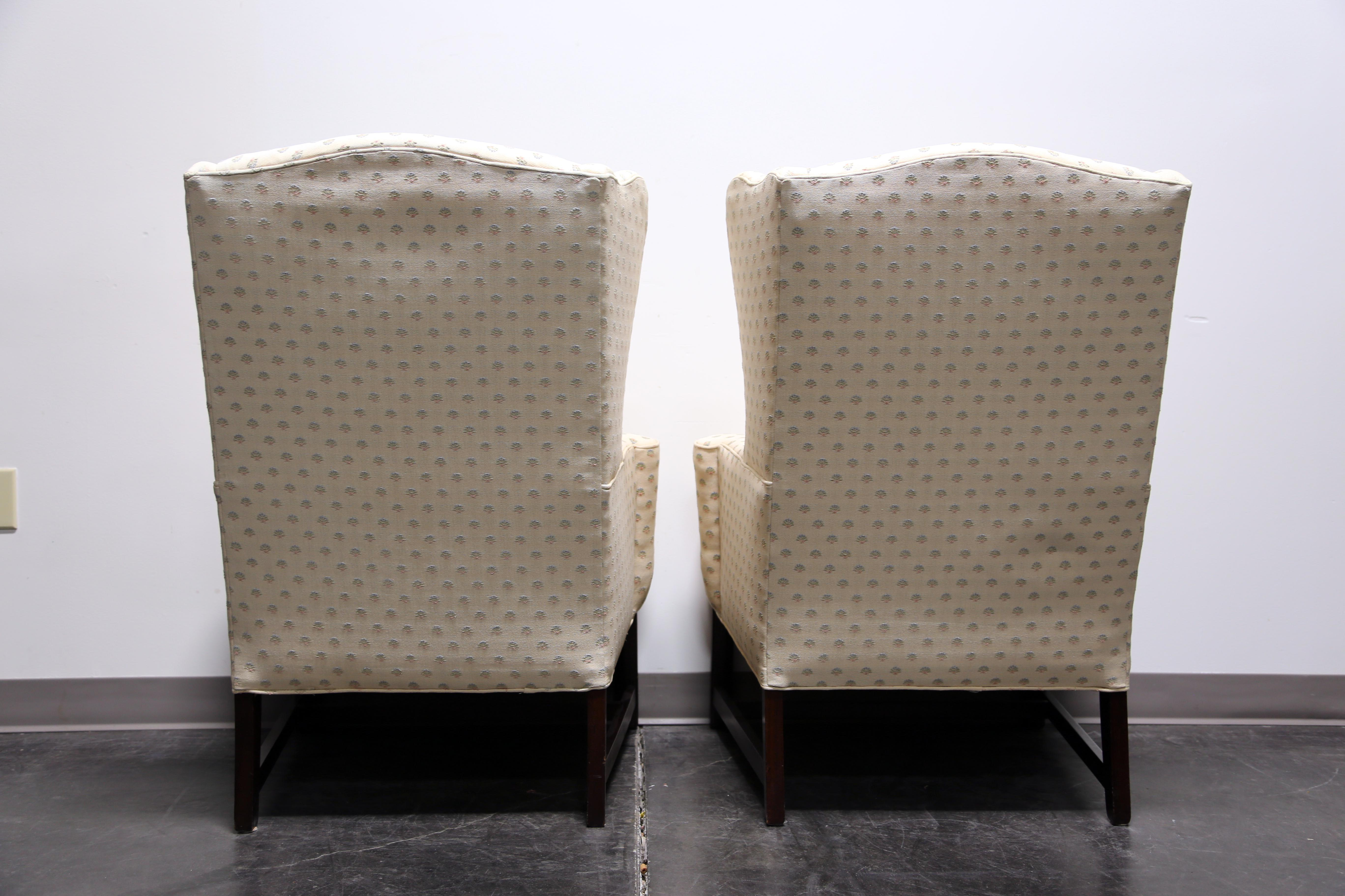 Chippendale Style Mahogany Wing Back Chairs By Conover Chair Co   Pair    Image 5 Of