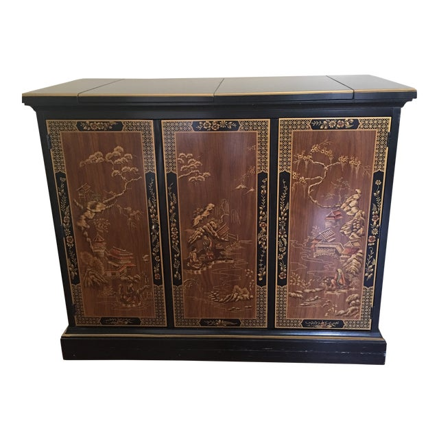 Drexel Heritage Chinoiserie Black Lacquer Buffet Server For Sale