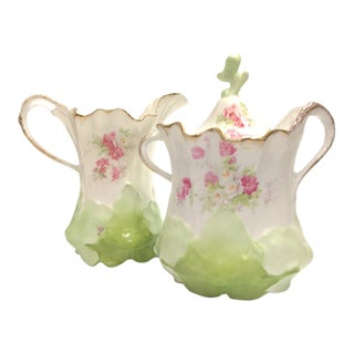 Vintage Floral Pattern Porcelain Creamer Pitcher and Lidded Sugar Bowl - Set of 2