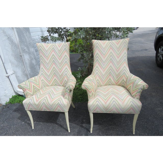Vintage Painted Tall Pair of Living BedRoom Fireplace Side Chairs For Sale - Image 10 of 13
