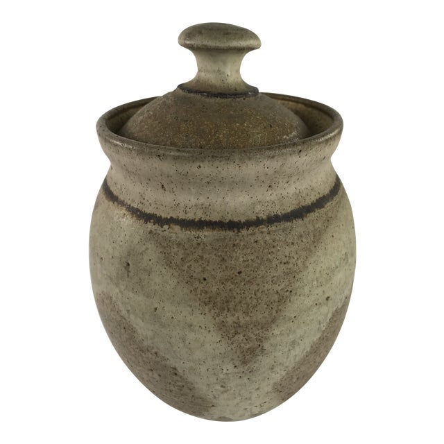 Mid Century Modern Stoneware Studio Pottery Covered Canister For Sale
