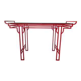 Asian Red Laquer Console With Glass Top For Sale