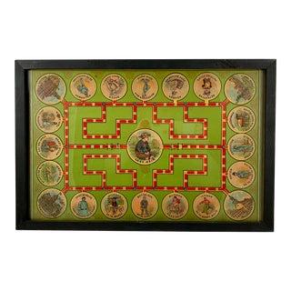 1906 Chromolithograph 'Lost Heir' Milton Bradley Children's Game Board, Framed For Sale