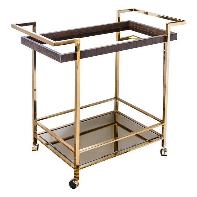 Mid Century Bar Cart, Leather Wrapped Tray With Smoked Mirror For Sale - Image 13 of 13