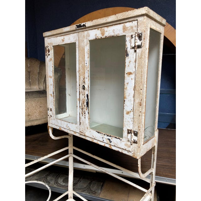 Industrial 1930's Vintage American Painted Steel Supply Cabinet For Sale - Image 3 of 11