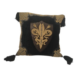 Moroccan Black Silk Decorative Pillow With Gold Metallic Threads and Tassels For Sale