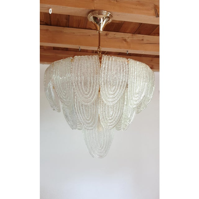 Mazzega Murano Mid-Century Modern Murano Glass and Plated Gold Chandelier by Mazzega For Sale - Image 4 of 10