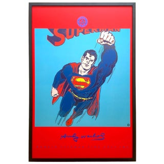 "Andy Warhol Foundation Rare 1996 1st Edtn Iconic Lithograph Print Framed Collector's Pop Art Poster "" Superman "" 1981 For Sale"