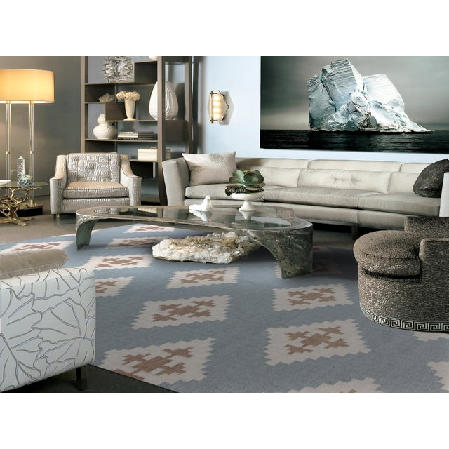 Contemporary Zara Southwestern Blue Flat-Weave Rug 8'x10' For Sale - Image 3 of 4