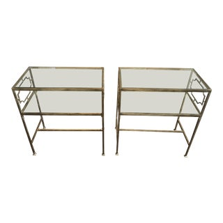Vintage Gold and and Glass Side Tables - a Pair