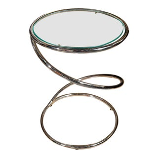 1970s Vintage Pace Chrome Swirl Drink Table For Sale