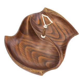 Cal Style Wood Tone Divided Dish For Sale