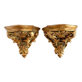 Florentine Style Gilt Carved Wood Small Wall Shelf Sconce - a Pair For Sale