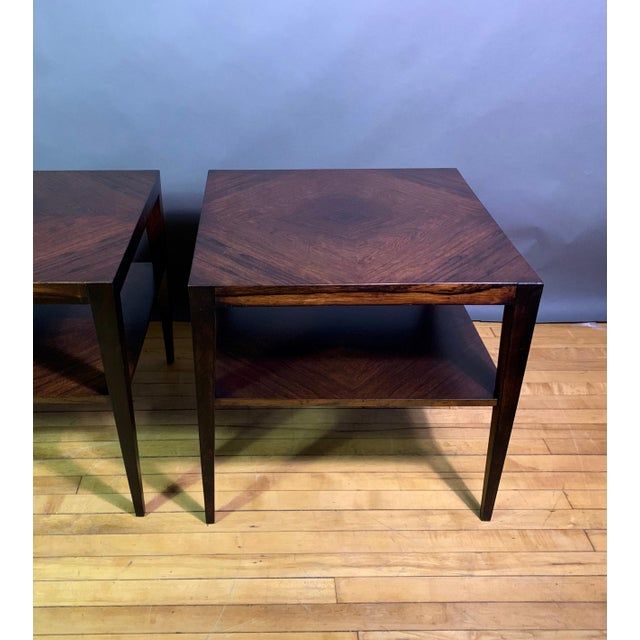 1950s Pair Isaac Teperman Brazilian Rosewood Side Tables, 1950s For Sale - Image 5 of 11