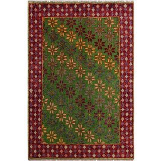 1990s Southwestern Balouchi Alexa Green/Red Wool Rug - 4'10 X 6'4 For Sale