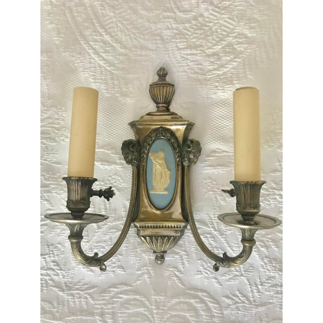 Metal 20th Century Empire Wedgwood and Brass Double Arm Electrified Sconces - Set of 4 For Sale - Image 7 of 13