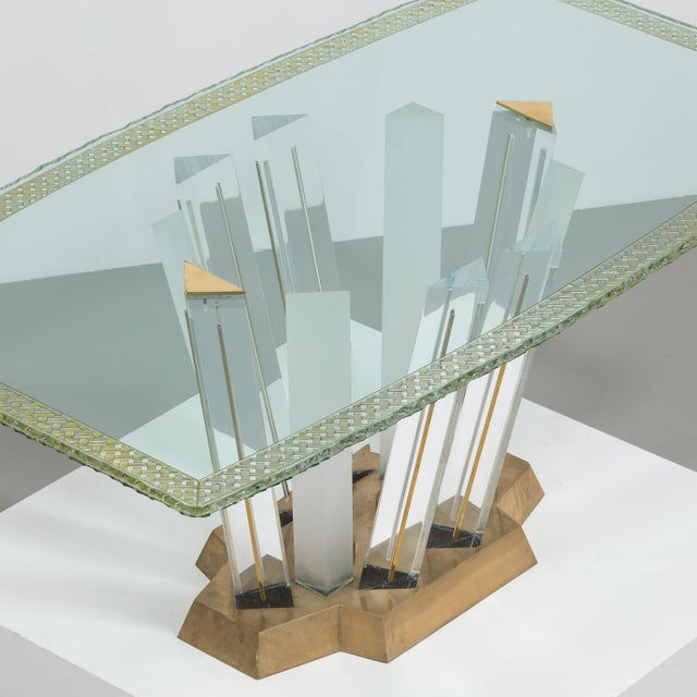 A Superb Lucite and Bronze Dining Table with Unique Glass Top - Image 5 of 11