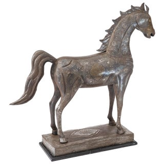 Monumental Exhibition Damascene Gold and Silver Inlaid Horse Sculpture For Sale
