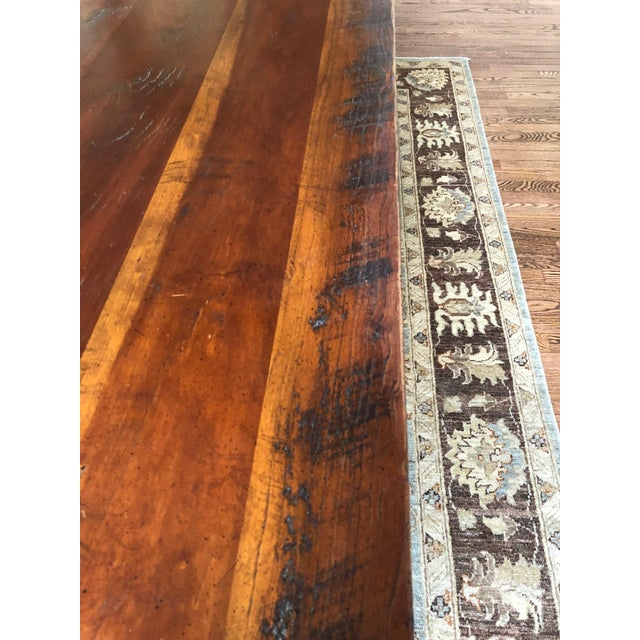 2000 - 2009 Wright Table Company Classic Distressed Hard Wood Farm Table For Sale - Image 5 of 13
